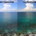 Con e senza polarizzatore in un giorno di sole